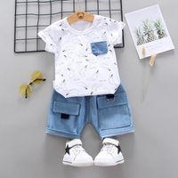 Summer Toddler Girls Abbigliamento Set di cartoni animati T-shirt da stampa + Big Pocket Denim Shorts Bambini Ragazzi Casual Casual Netwear abiti