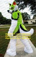 Uzun Kürk Kürklü Yeşil Beyaz Husky Köpek Tilki Kurt Maskot Kostüm Fursuit Yetişkin Karikatür Marka Gudenity Sevimli Sevimli ZZ7651
