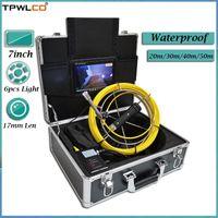 Telecamera di ispezione del tubo industriale da 17 mm impermeabile con luci a LED regolabili 6pcs 20-50m 7inch Sistema interno IP Telecamere IP