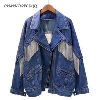 Women's Jackets 2021 Denim Long Jacket Plus Size Outwear Women Coats Spring Autumn Loose Chain Tassel Blue Cowboy Jeans Coat Female Casual