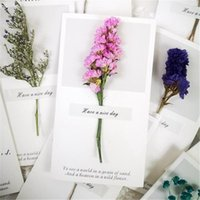 Flowers Greeting Cards Gypsophila dried flowers handwritten blessing greeting card birthday gift card wedding invitations LLE10486