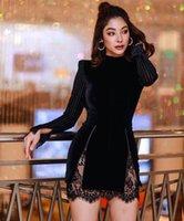 Vero Brully женщины зимний стиль сексуальный с длинным рукавом молния кружева черный мини-бандаж платье 2021 элегантный вечерний вечеринка Vestidos повседневные платья