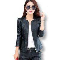 Women's Jackets Spring Autumn Short Leather Coat Women Korean Fashion Stand-Up Collar Slim Motorcycle Jacket Female Plus Size NBAS