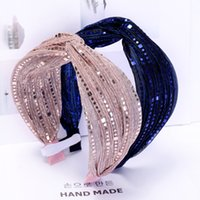 Simple Bright Silk Knitted Fabric Headbands Wide Edge Lace Mesh Hair Bands