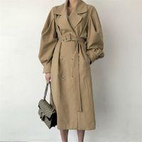 Herbst Übergröße Frau Casual Langer Trenchcoat Koreanische Stil Vintage Laterne Ärmel Outwear Elegante Taille Bandage Windjacke 210514