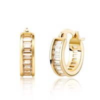 Hoop & Huggie Baguette Zircon Earrings Gold Plated Iced Out CZ Hip Hop Simple Fashion Jewelry Girls Gift