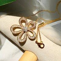2021 Vier Blattklee Camellia Anhänger Clavicle Kette Halskette mit Diamanten 18 Karat Gold Mode Klassiker Für Van Womengirls Hochzeit Valentinstag Schmuck Geschenk