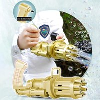 2021 Kids Novelty Games toys Automatic Gatling Gun Summer Soap Water Bubbles Machine 2-in-1 Electric For Children Gift