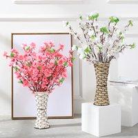 65 cm de fausses fleurs artificielles cerisier printemps prune pêche blossom branche de la soie fleur arbre maison fête maison de mariage décor