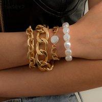 Charm Bracelets IngeSight.Z 4Pcs Set Punk Imitation Pearl Chain Hip Hop Chunky Thick Curb Cuban Bangles For Women Jewelry