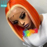 Omber цветные оранжевые / серые выделенные парик бразильские реми человеческие волосы 13x4 кружевные парики для черных женщин прозрачные 150%