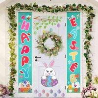 1Pair 2pcs Bannière Happy Banner Porche Décor de porte pour la maison Festival de plein air Décoration de vacances suspendue Drapeaux de Pâques Fournitures de fête de Pâques