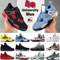 Mais recente universidade azul 4 4s mens basquete sapatos fogo vermelho trovão paris preto gato metálico roxo branco oreo criado cactus jack homens mulheres sneakers treinadores