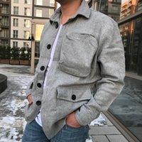 Мужская черная негабаритная грудная кармана карманная ткань куртка серая рубашка сезонная пальто высокого качества повседневные куртки