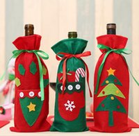 Santa Claus Gift Bags Christmas Decorations Red Wine Bottle Cover Bags-Xmas Champagne wines Bag Xmas Gifts 30*15CM SN4129