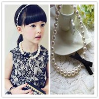 Designer Necklace Classic Lace Bowknot Imitation Pearls Chain s for Kids Baby Girls Princess Dress Kawaii Children Jewelry Birthday Gift