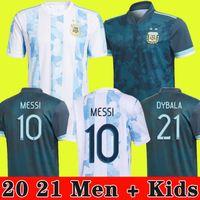 2020 2021 Argentina Soccer Jersey 20 21 Copa Home Away Football Shirt Messi Dybala Aguera Lo Celso Martinez Tagliafo الرجال Kids Kit Oryms