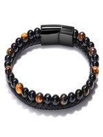 Charm Bracelets 8MM Red Tiger's Eye Leather Braided Bracelet Natural Stone Men's