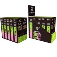 Authentique Alpsvape By2 Max 5000 Puffs E-Cigarettes Jetables Dispositif de bassin de bonds de fond rechargeable 12 ml (6 + 6 ml) 900mAh Batterie 5% de force
