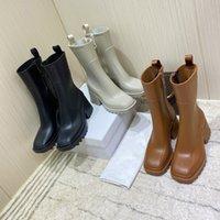 2021 Kadın Betty PVC Yağmur Çizmeleri Bayan Yarım Patik Deri Platformu Topuk Diz Boot Üst Tasarımcı Bayanlar Kalın Alt Ayakkabı Kutusu Boyutu 35-40