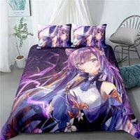 مجموعات الفراش مشروع Touhou Remilia Scarlet Flandre Anime حاف الغطاء مع وسادات الأرجواني الكتان Genshin تأثير أغطية السرير