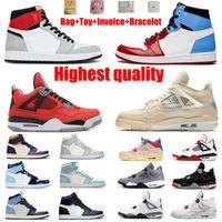 Jumpman Basketball Shoes 1 1s Travis Scotts 4 4S 유니온 노아 구아바 아이스 흑요석 UNC 두려움없는 배송 상자 남성과 여성의 최고 품질 크기 36-46 및 절반