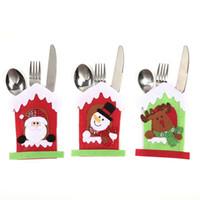 Santa Hut Rentier Weihnachten Neujahr Taschengabel Messer Besteck Halter Tasche Home Party Tisch Dinner Dekoration Geschirrabdeckung OWD11147