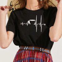 Women's T shirts Heartbeat Ecg t Shirts Cup Printed Short Mouw Harajuku Ulzzang Tumblr Graphic Teas Shirt Femme 2021 Clothing