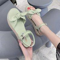Sandalet Bayanlar Düz Kalın Tabanlı Nefes Kadın Yaz Yumuşak Soled Shoes2021 Stil Rahat Papyon Etek Kadın