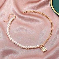 Collar de gargantilla de perlas de la moda coreana para mujeres diseño de personalidad costura cadena de clavícula accesorios de joyería para regalo chokers
