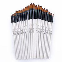 12pcs Capelli di nylon Manico in legno Manico in legno acquerello pennello penna penna per l'apprendimento dell'olio fai da te Pittura acrilica Acrilico Pennelli Art Forniture Makeup