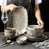 Cuenca de cerámica de grano de piedra irregular Plato de estilo Japón Estilo Cubiertos Set Eco Amistoso Platos Placas de vajilla Accesorios de cocina Conjuntos