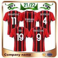 21/22 AC Milan Fan Player Version # 11 Jersey de football Ibrahimovic 2021 # 19 Théo # 21 Brahim # 79 Kessie Shirt de football Calhanoglu Tonali Uniforme