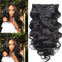 100 grams Body Wave Brazilian Remy Human Hair Extensions Clips In Hairs Extension Full Head Natural Color Can Be Dyed