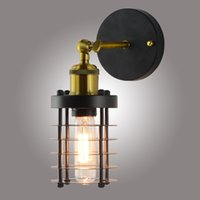 Loft Industrial Wind Wall Light Retro Small Iron Cage E26 E27 bedside lamp For Restaurant Kitchen Bedroom