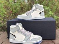 Édition limitée Jumpman 1 Chaussures de basket-ball de haute taille gris Couleur Blanc Couleur Correspondant Mode Entraîneurs de designer Luxurys Sneakfas Sneakers Plein 40-45 avec boîte