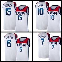 """Kevin 7 Durant Devin 15 Booker Jersey Damian 6 Lillard Jayson 10 Tatum Basketball Jerseys Equipe USA """"Tokyo Olympics d'été Blanc Bleu"""