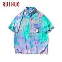 Мужские повседневные рубашки Ruihuo галстуки для мужчин одежда с коротким рукавом рубашка мужчина летняя одежда M-2XL 2021 прибытие