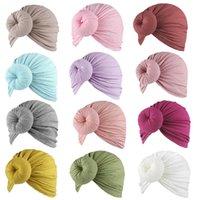 Neugeborene Baby Säuglingsbogen Knot Turban Hüte Massivfarben Donut Kopf Wraps Weiche Baumwolle Handgemachte Stirnband Mütze Mützen Breite Haarband Haarbänder Schädel Kopfschmuck G679FCD