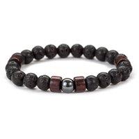 8mm DIY Natural Lava Rock Stone Strands Wooden Beaded Charm Bracelets Handmade Elastic Jewelry For Women Men