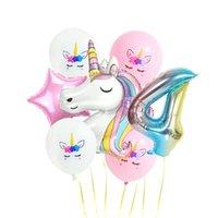 Unicorn Balon Renk Karikatür Alüminyum Film Gradyanlar Gökkuşağı Renk Numarası Balonlar Çocuklar Doğum Günü Partisi Deocrations 5 8SY K2