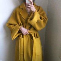 Vrouwen wolmengsels dames gele elegante winter overjas lange bandage wollen jas cardigan losse plus size uitloper met zak af
