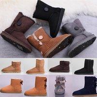الفراء الثلج الفاخرة مصمم النساء الشتاء wgg أستراليا الأحذية الركوع نصف طويل الكاحل الأسود الكستناء القهوة الدافئة بيلي القوس