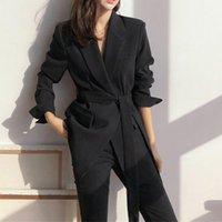 Women's Suits & Blazers Long Vintage Office Lady Blazer With Belt Women Loose Casual Jacket Suit Spring Autumn Korean Outerwear Female