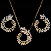 Two Size New Design Luxury AAA Zircon Olive Branch Earrings and Pendant Jewelry Sets For Fashion Women Wedding Jewelry Set AS128 1716 Q2
