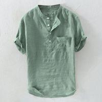 Men's Casual Shirts 4# Summer Pure Cotton Button Short Sleeves Fashion Large Blouse Top 2021 For Men Plus Size