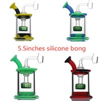 5.5inches Assemble Silicone Bong hookahs Shower Head percolator Easy clean Dab Rigs with 4mm quartz banger mini water pipe