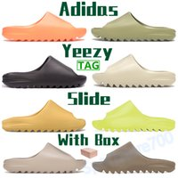 2021 adidas yeezy slide homens mulheres mulheres chinelos sapatos enfames laranja enfora mens verão sandálias brilho verde resina fuligem terra marrom osso branco slides com caixa
