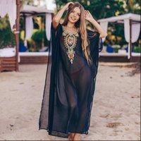 Donne Abiti Bohemian Black Black Summer Summer Beachwear Chiffon Kaftan Beach Donna Tunica Vestito da bagno Vestito da bagno Vestito Plage Swim Beach Cover Up