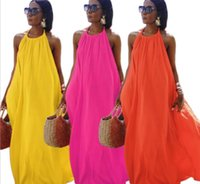 Casual Dresses 2021 Women Halter Dress S-2XL Summer Sleeveless Fashion Solid Backless Arrivals Lady Maxi A-Line